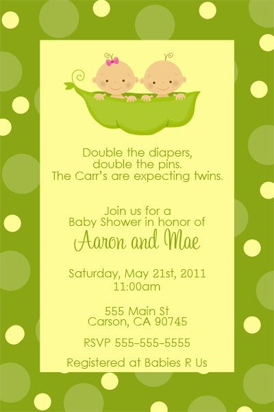 two peas in a pod baby shower invitation twins by dpdesigns2012 10