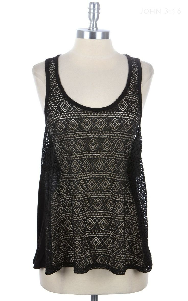 Aztec lace tank top with ruffled back fashion pinterest