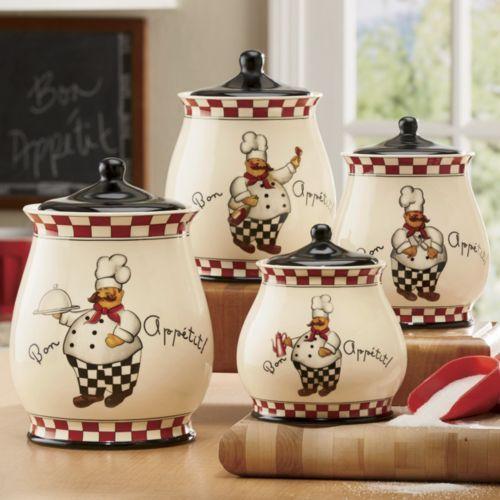 Bon appetit chef canister set kitchen accents pinterest for Kitchen decoration piece