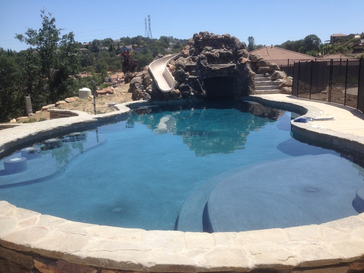 Pin by david randolph on swimming pools pinterest for How to build a swimming pool slide