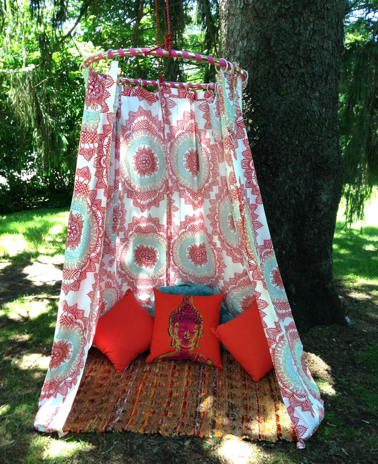 """... """"peace nook"""" for my kids out of a hula hoop and two shower curtains"""