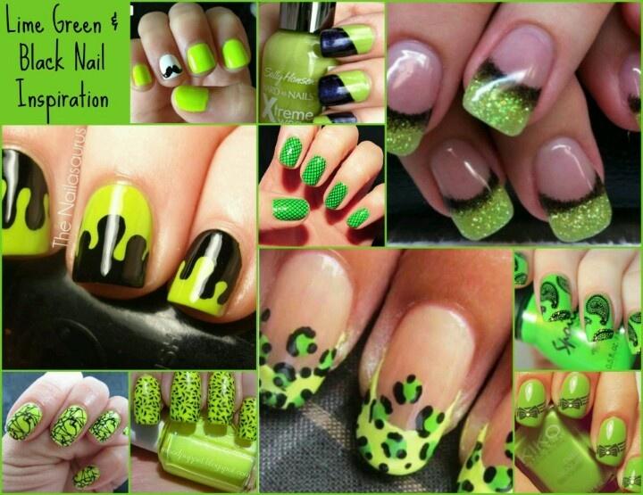 Nail Designs Green And Black: Green and black nail art design.