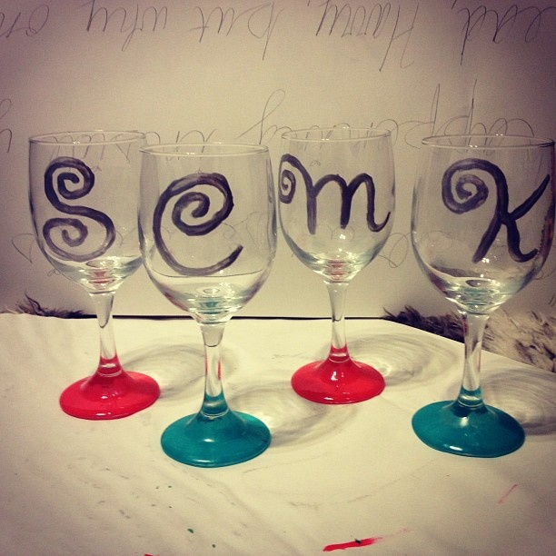 Paint Glasses Frame With Nail Polish : nail polish painted wine glasses! Craft Ideas Pinterest