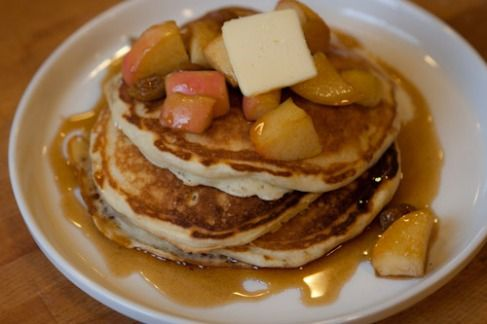 Buttermilk Pancakes With Maple Syrup Apples Recipes — Dishmaps