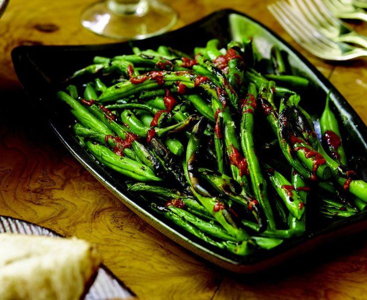 Try Ted Allen's grilled green beans with harissa recipe! #FoodRepublic