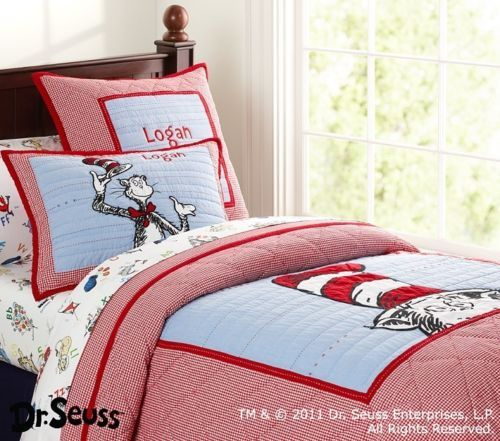 pottery barn kids dr seuss cat in the hat twin quilt euro sham new