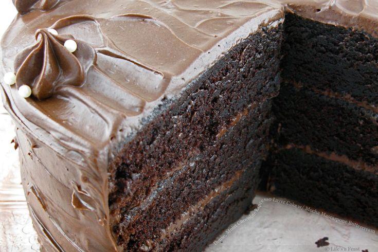 chocolate espresso layer cake with mocha mascarpone buttercream :))