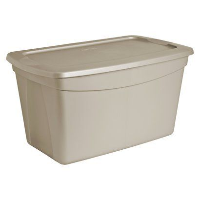 Sterilite Grey Stackable Plastic Tote With Lid 30-gal.