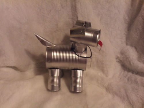 Hand crafted original tin can man the wizard of oz toto for Tin man out of cans
