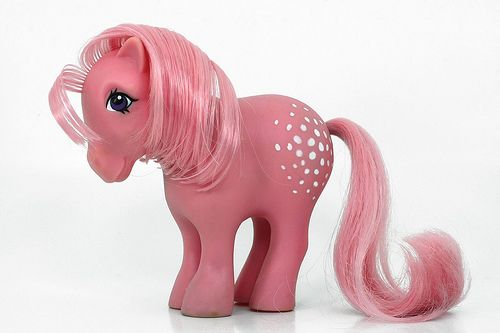 My Little Pony. This is Cotton Candy, I had this little cutie.