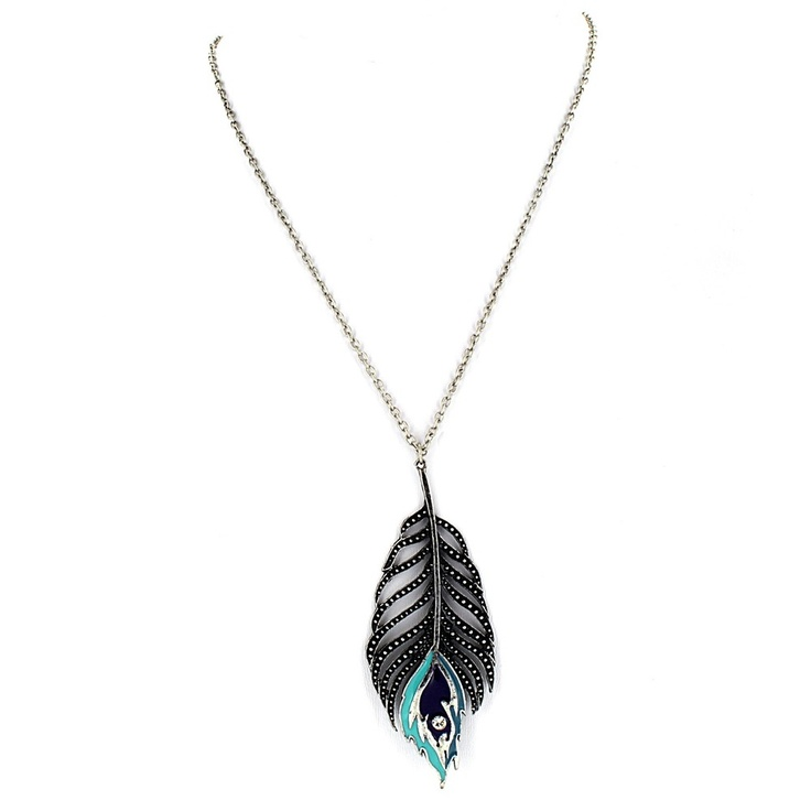 West Coast Jewelry Silvertone Peacock Feather Pendant Necklace