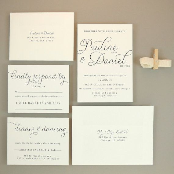 Modern Elegant Wedding Invitation Suggestions Yaseen for – Simple Classic Wedding Invitations