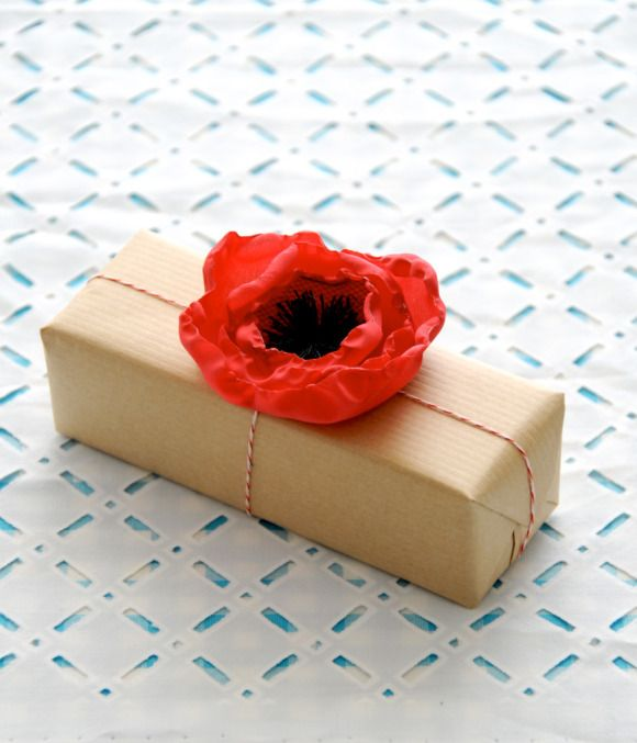 Fabric Poppy Flower Gift Toppers
