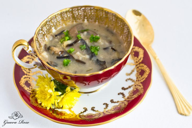 Wild Rice, Leek and Mushroom soup in red tea cup w/spoon from @Guava ...