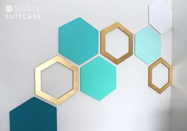 Diy geometric wall decals for Geometric wall art diy