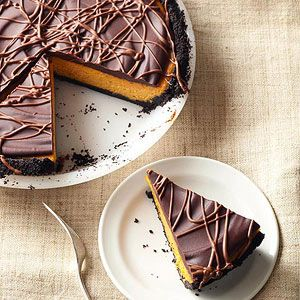 Chocolate-Glazed Pumpkin Pie Cheesecake | .Cream cheese, pumpkin, dark ...