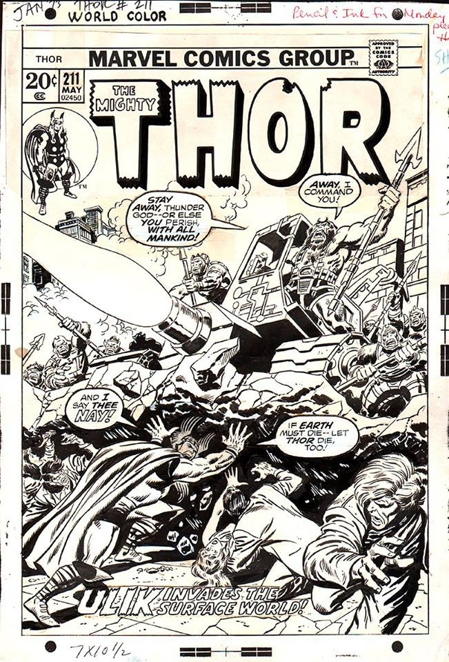 Comic Book Cover Black And White : John buscema thor