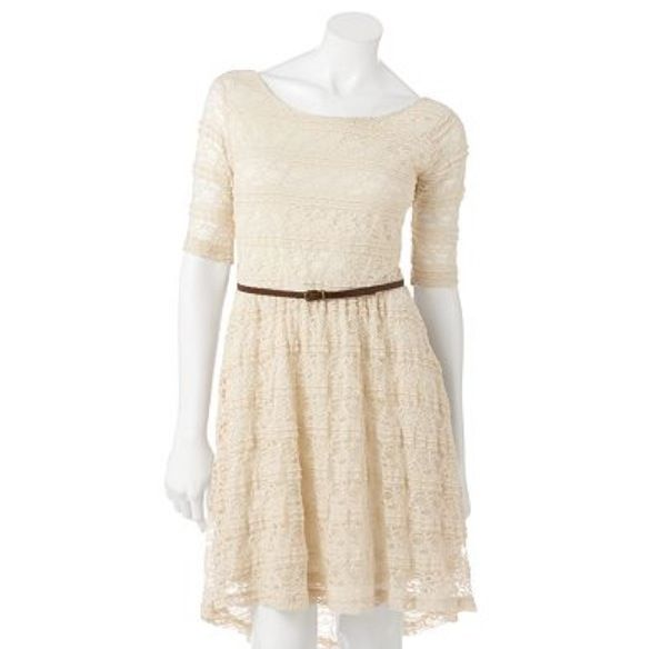 white lace dress with brown belt dresses