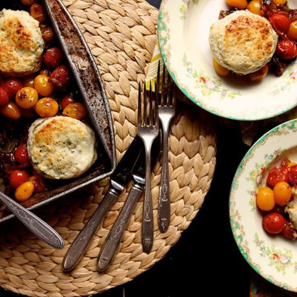 Tomato Cobbler with Blue Cheese Biscuits | recipes that I am going to ...