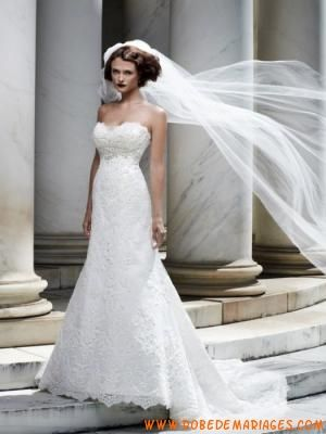 Robe de mariée bustier Satin dentelle  Robe de mariée dentelle ...