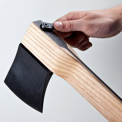 ECAL graduate Kacper Hamilton has designed a luxury axe with carbon-fibre in its handle and interchangeable heads.    Zai CORE Axe by Kacper Hamilton    The Zai CORE Axe has one head for felling trees and another for chopping wood, both made of high-carbon steel.