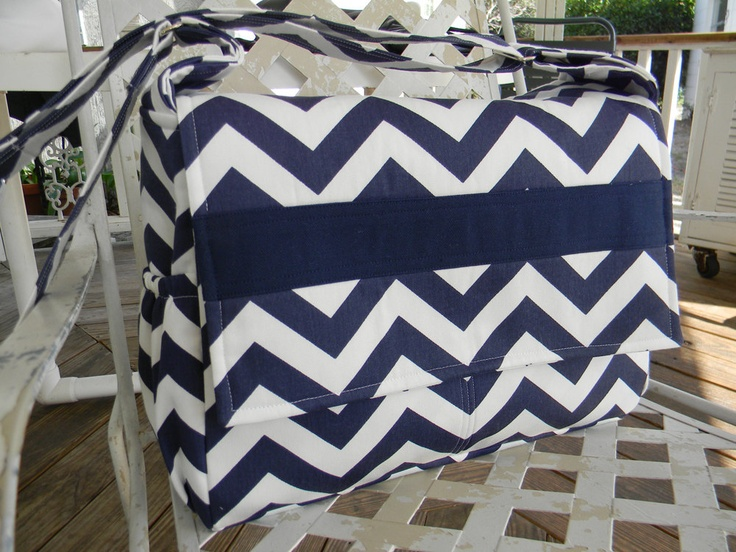 Navy Blue and White Chevron Diaper Bag Messenger Style. 130.00, via ...