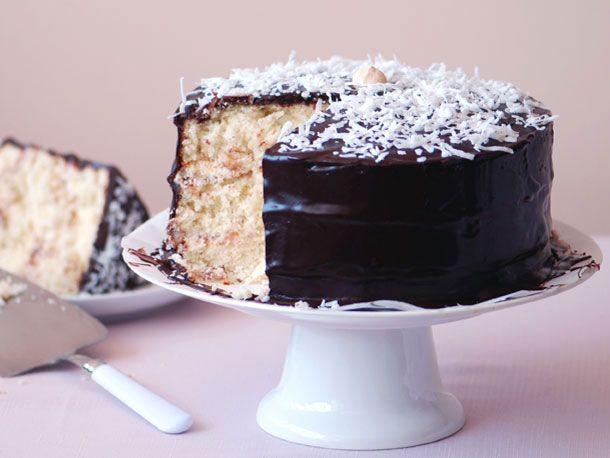 Coconut Layer Cake with Chocolate Glaze   Recipe