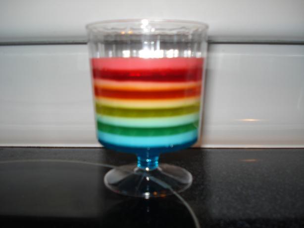 Ribbon Jello- 1 pkg each color + 3/4 c boiling water, mix. add 1/2 c ...