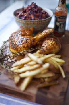 Spatchcocked Buffalo Chicken with Rosemary Roast Chips and Red Cabbage ...
