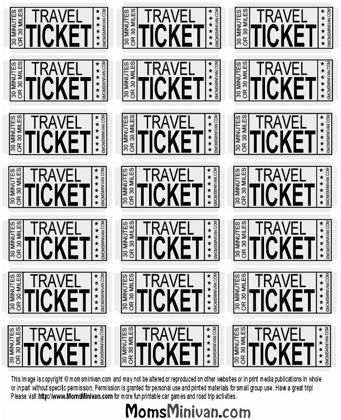 Travel Tickets for kids Printable page | My diy | Pinterest