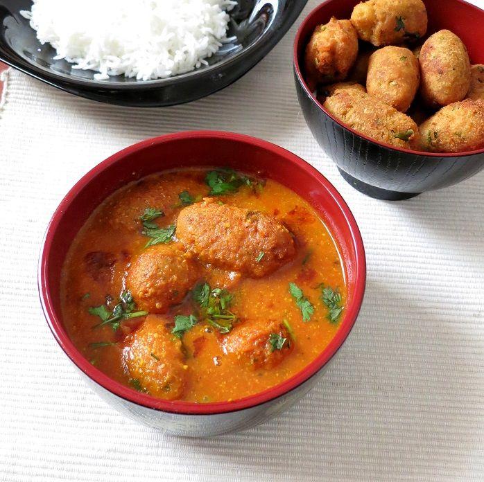 Suran Kofta Curry Yam koftas cooked in tangy tomato sauce