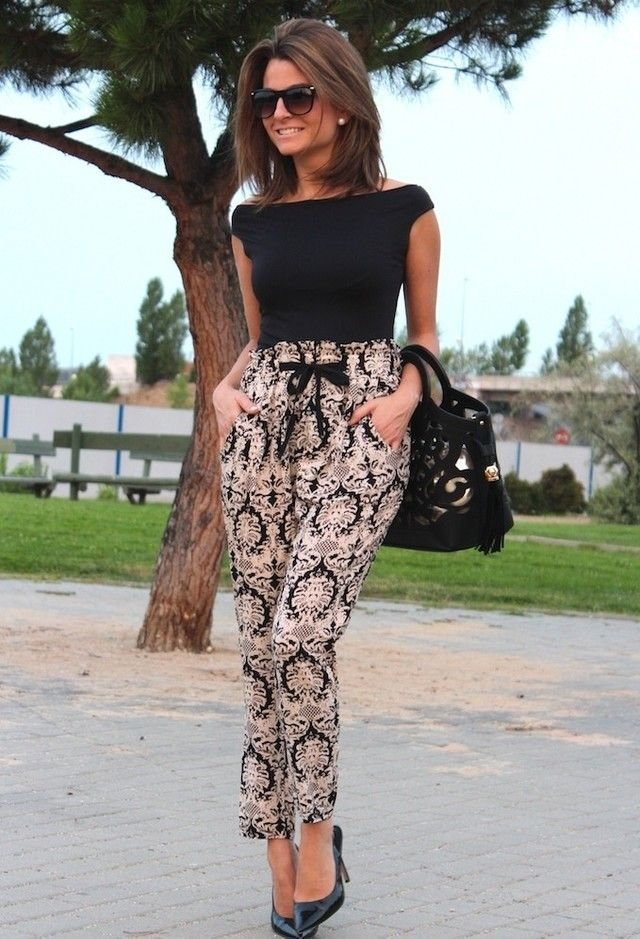 I like this, but I don't think I'd wear those pants with a bow. If I could pull of a similar look, it would be cool.