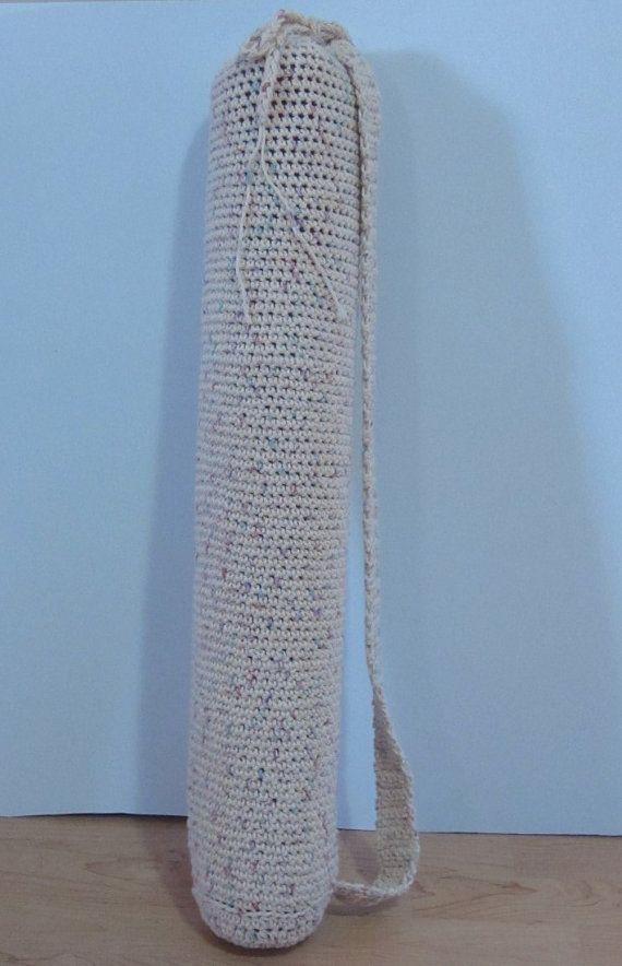 Crochet Cotton Bag : Cotton Crocheted Yoga Mat bag-Curiouser Crochet