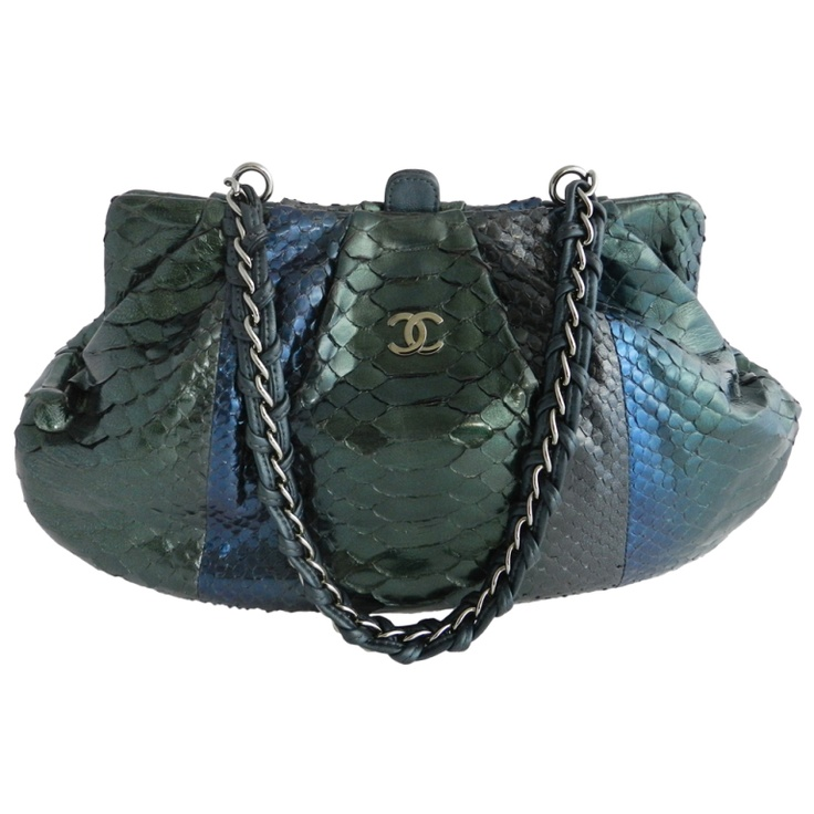 1stdibs - Chanel Green Blue Python Bag  Purse explore items from ...