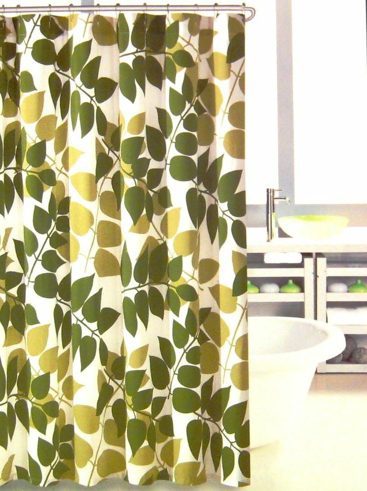 Hillcrest Shower Curtain Leaves Olive Avocado Green White New