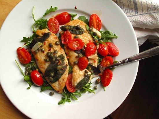 chicken cutlets with capers and tomatoes - made this several times ...