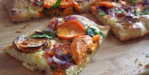 Roasted Sweet Potato Pizza with Spinach & Carmelized Onions from the ...