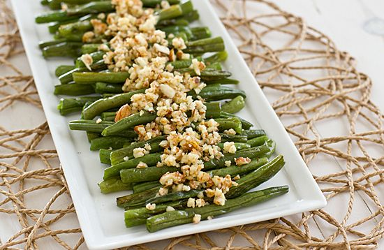 ... Thanksgiving spread. Green beans with lemon-almond pesto sound great