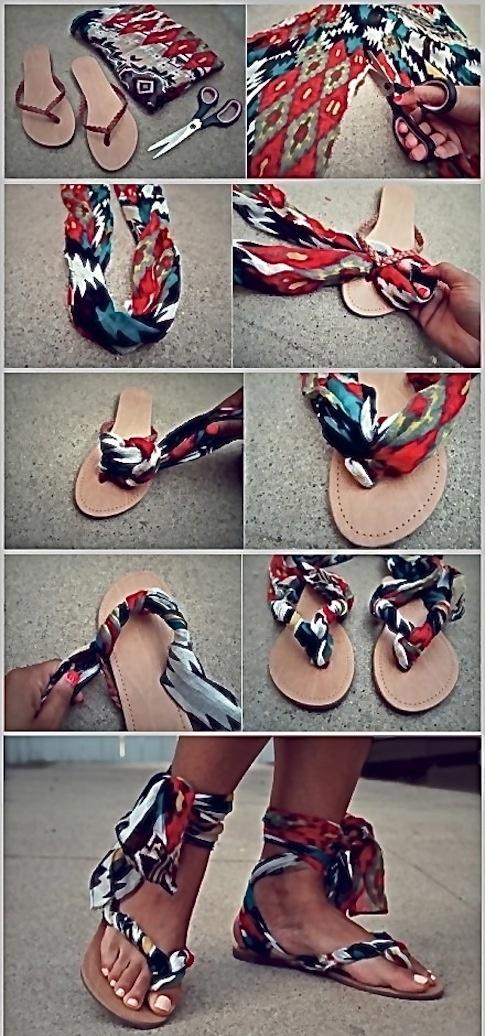 Sabe aquele lenço ou canga esquecidos lá no armário? Pode virar uma sandália linda para usar no Verão. Faca você mesma!!! Vem ver o passo a passo: