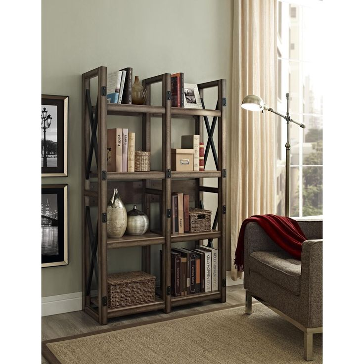 Wildwood rustic metal frame bookcase room divider - Open bookcase room divider ...