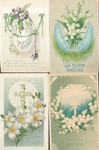 Lot of 4 Antique Embossed Easter Postcards w/ Lily of the Valley Flowers-ccc461
