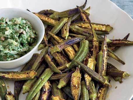 skillet roasted spiced okra - for grandmother