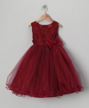 Lida Burgundy Bow Dress - Toddler & Girls