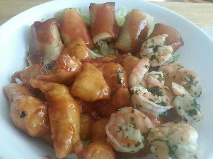 Spring Rolls, Chicken Balls and Garlic Shrimp on Rice.