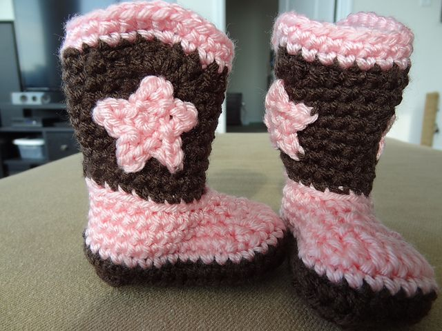 Crochet Baby Cowboy Free Pattern : Cowboy boot Crochet baby booties & shoes Pinterest