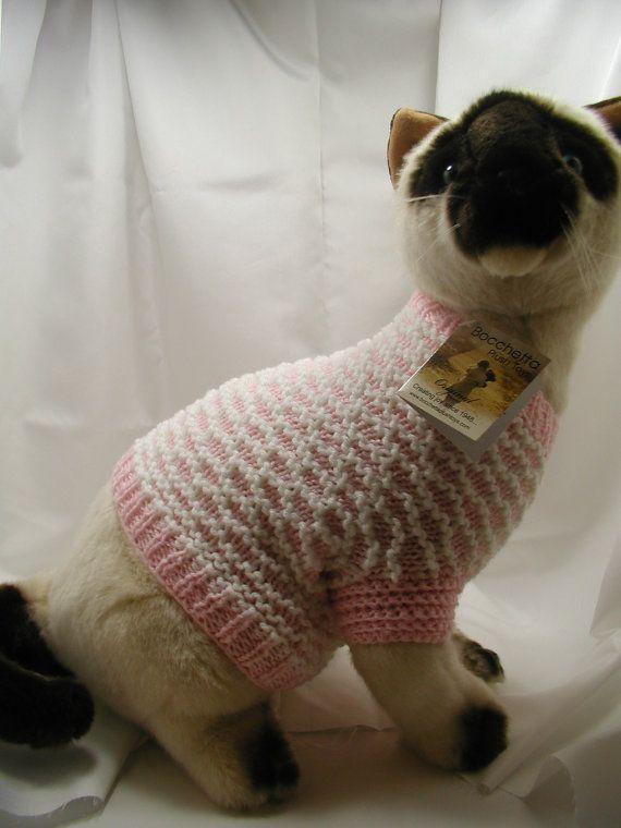 Hand knit cat sweater pattern - Cat jumper knitting pattern ...