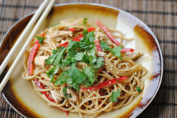 Thai Peanut Noodles with Chicken | YUM! | Pinterest
