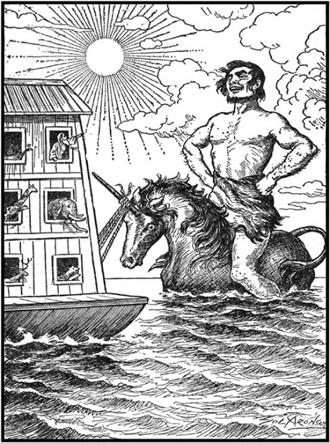 Jewish tale of how the giant Og survived the Noahicial flood