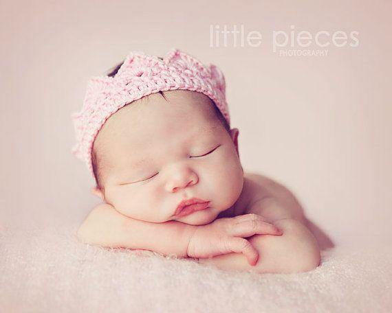Crochet Newborn Crown : Crochet crown tiara headbands many colours - newborn photo prop