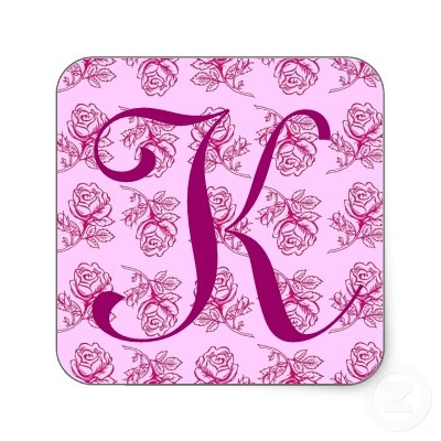 K Letter In Rose Monogram Letter K Pink Roses Sticker